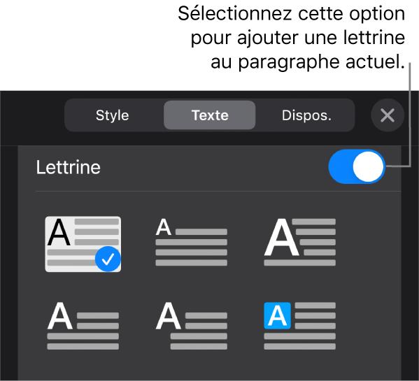 Les commandes Lettrine situées en bas du menu Texte.