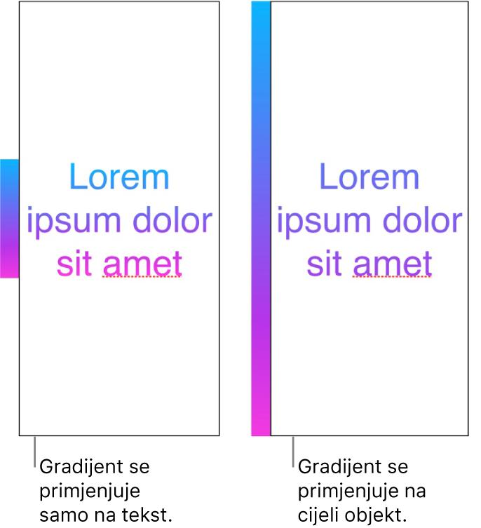Primjeri jedan pored drugog. Prvi primjer prikazuje tekst s gradijentom primijenjenim samo na tekst, tako da se u tekstu prikazuje cijeli spektar boja. Drugi primjer prikazuje tekst s gradijentom primijenjenim na cijeli objekt, tako da se u tekstu prikazuje samo dio spektra boja.