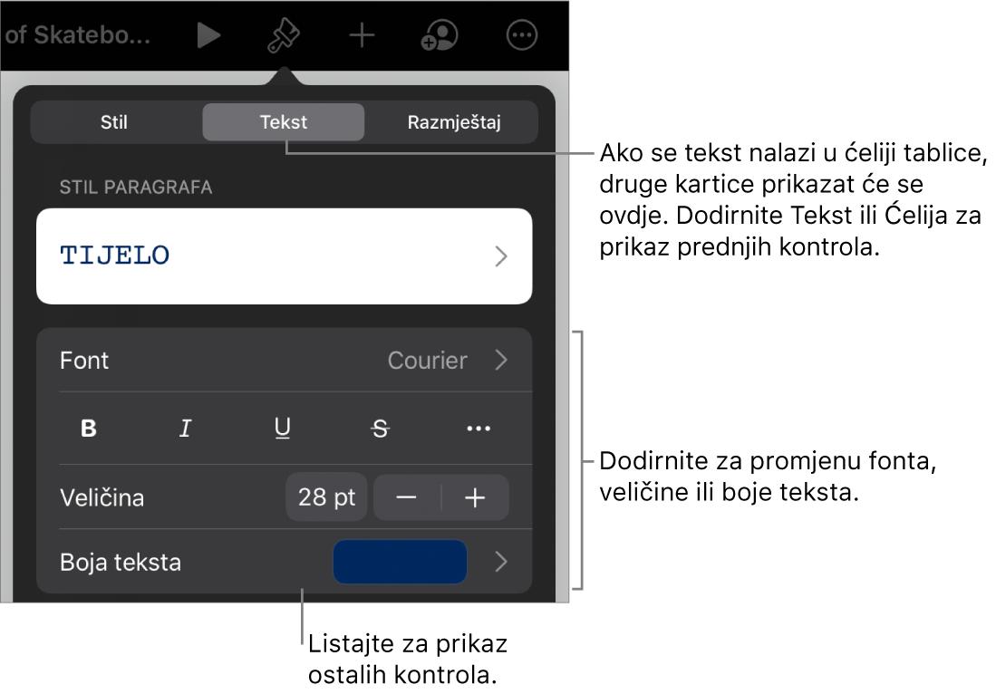 Kontrole teksta u izborniku Format za postavljanje paragrafa i stilova paragrafa, fonta, veličine i boje.