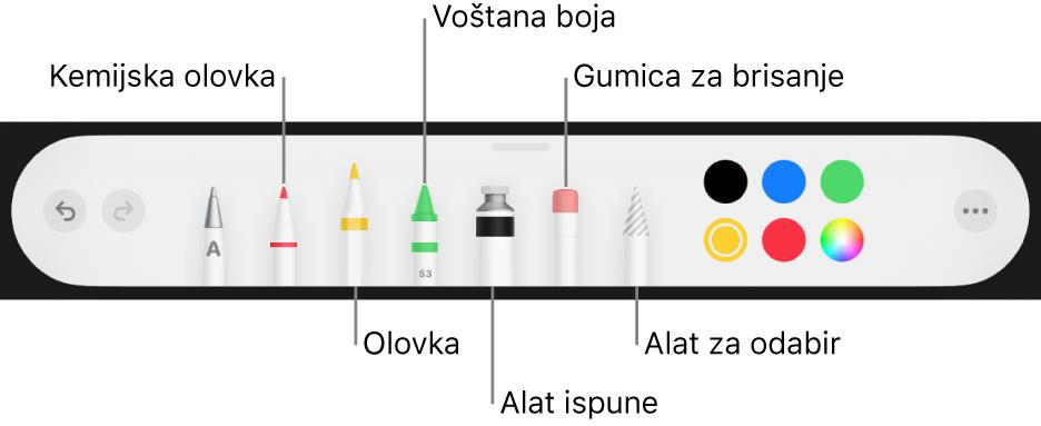 Alatna traka za crtanje s kemijskom olovkom, olovkom, voštanom bojom, alatom za ispunu, gumicom za brisanje, alatom za odabir i kotačićem s bojama koji prikazuje trenutačnu boju.