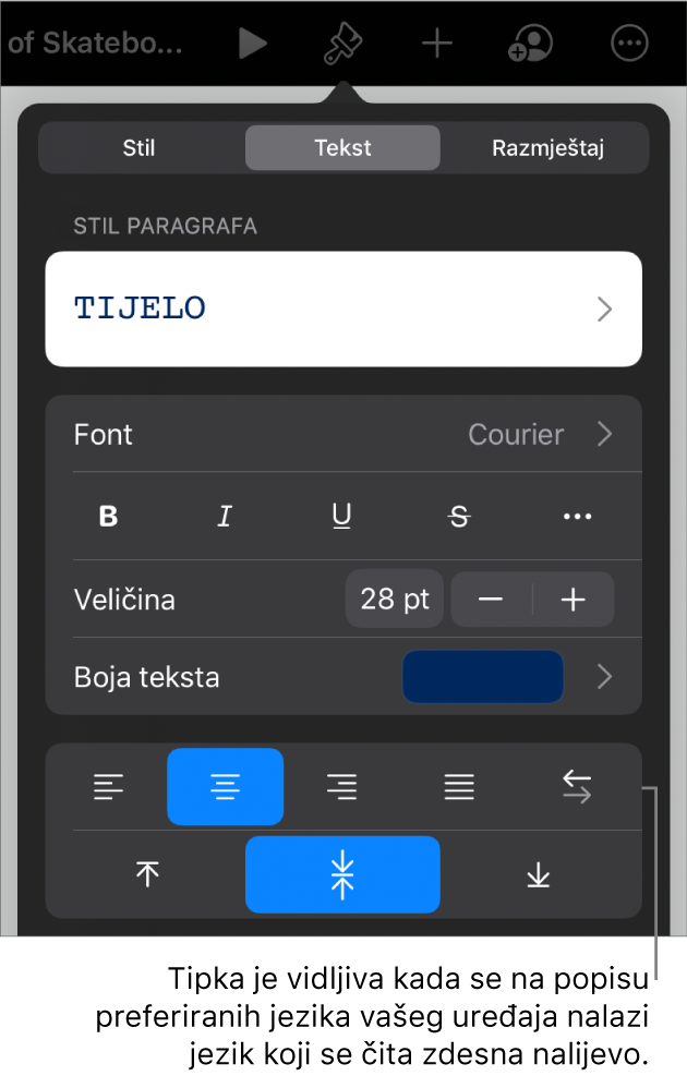 Kontrole teksta na izborniku Formatiraj s oblačićem na tipku S lijeva na desno.