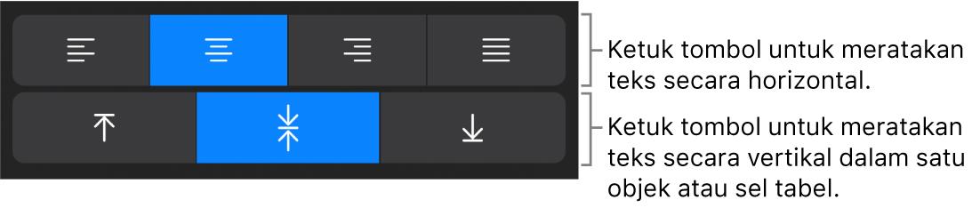 Tombol perataan horizontal dan vertikal untuk teks.