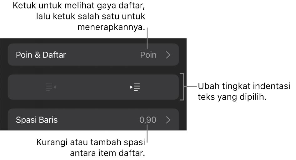 Bagian Poin & Daftar dari kontrol Format dengan keterangan ke Poin & Daftar, tombol indentasi luar dan indentasi dalam, serta kontrol spasi baris.
