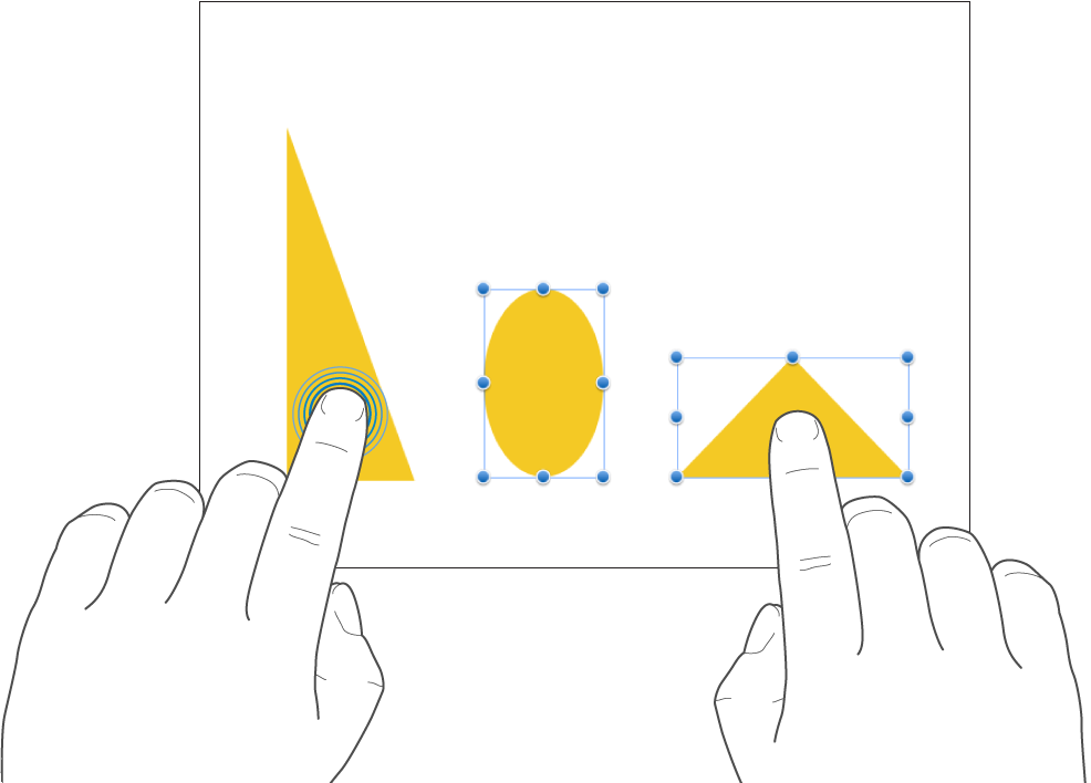 Satu jari memegang bentuk dan jari lain mengetuk bentuk yang terpisah.