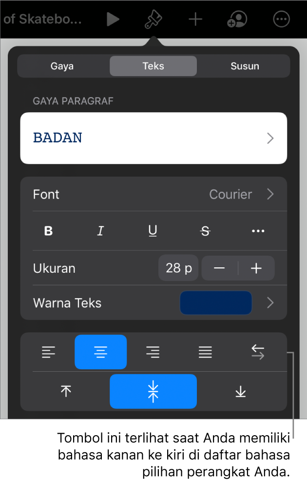 Kontrol teks di menu Format dengan keterangan ke tombol Kiri ke Kanan.