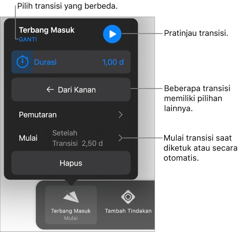 Kontrol di panel Pilihan untuk memodifikasi transisi.