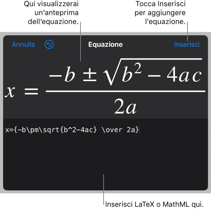 La finestra di dialogo Equazione che mostra la formula quadratica scritta tramite comandi LaTeX e un'anteprima della formula sopra.