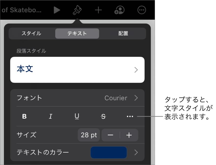 上部に段落スタイルがある「フォーマット」コントロールと、その後に「フォント」コントロール。「フォント」の下には、「ボールド」、「イタリック」、「アンダーライン」、「取り消し線」、および「その他のテキストオプション」のボタンがあります。
