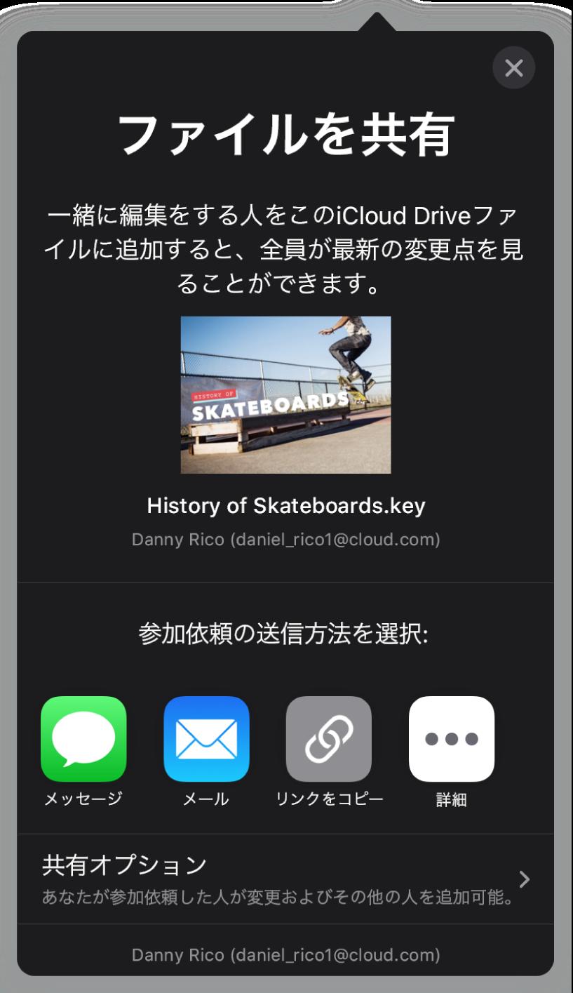 「人を追加」画面。共有されているプレゼンテーションの写真が表示されています。その下には、メール、「リンクをコピー」、「詳細」など、参加依頼を送信する方法のボタンがあります。下部には「共有オプション」ボタンがあります。
