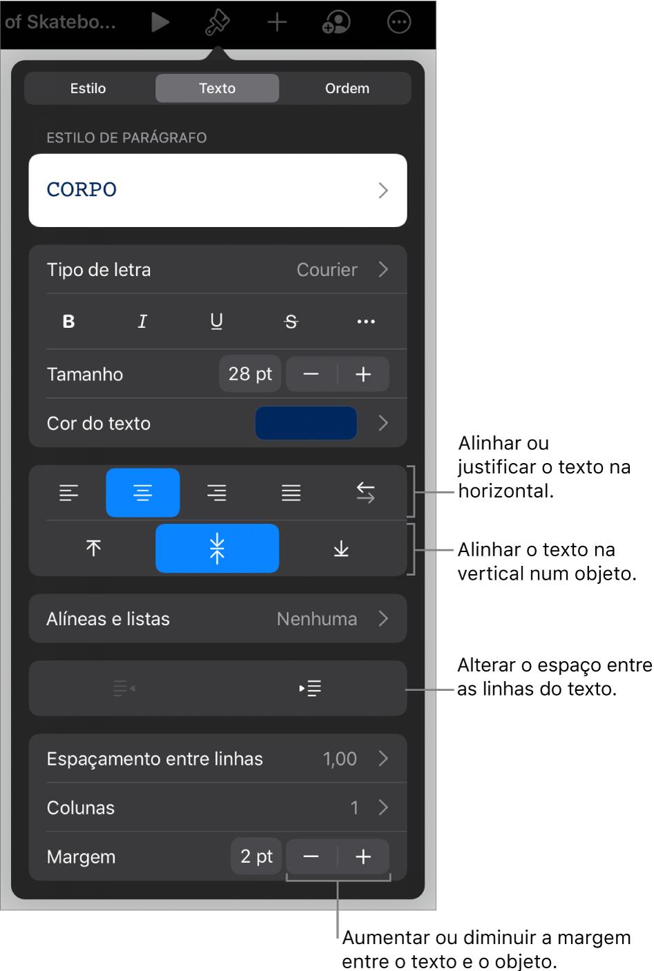 O painel Disposição com chamadas para os botões de alinhamento e espaçamento de texto.
