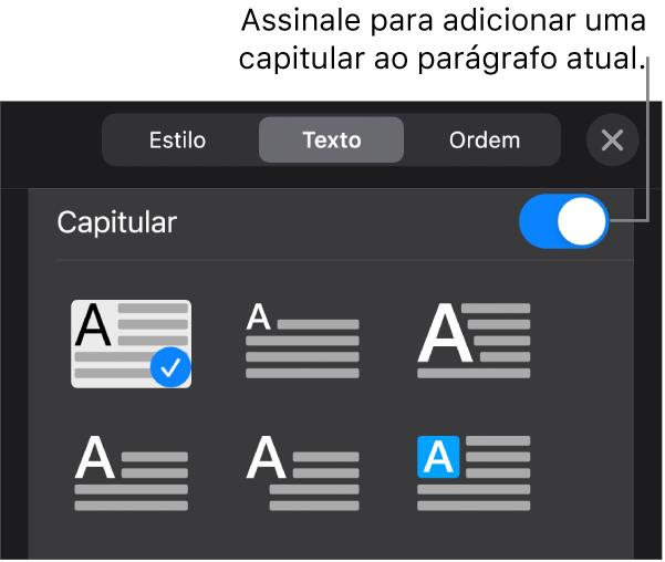 Os controlos de capitular localizados na parte inferior do menu Texto.