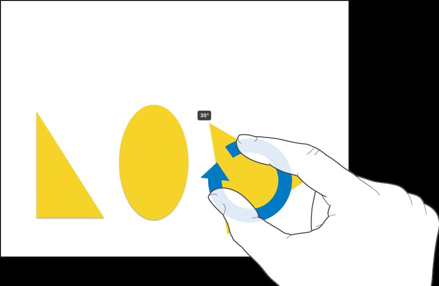 Dois dedos a rodar um objeto.