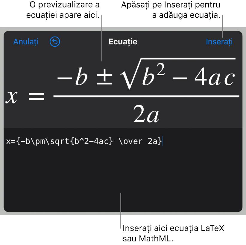 Caseta de dialog Ecuație, afișând formula cuadratică scrisă cu ajutorul comenzilor LaTeX și, deasupra, o previzualizare a formulei.
