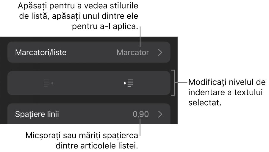 Secțiunea Marcatori/liste din comenzile Format cu explicații pentru Marcatori/liste, butoanele de indentare și indentare exterioară, precum și comenzile pentru spațierea liniilor.