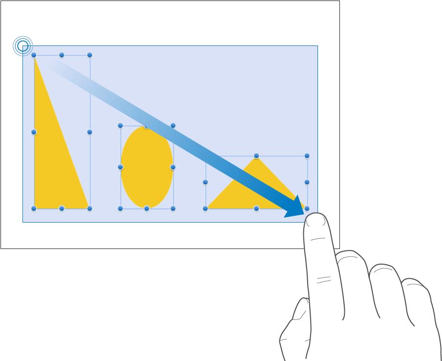Пользователь касается пустой области иудерживает ее; затем пользователь растягивает рамку, помещая внее три объекта ивыбирая их таким образом.