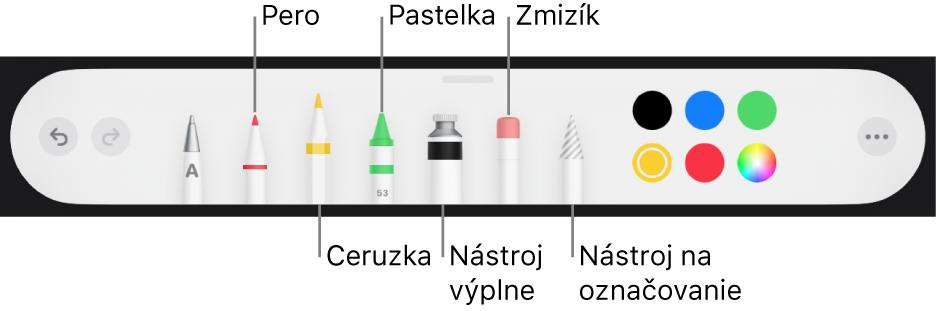 Panel snástrojmi kreslenia sperom, ceruzkou, pastelkou, výplňou, zmizíkom, nástrojom výberu avzorkovníkom farieb zobrazujúcim aktuálnu farbu.