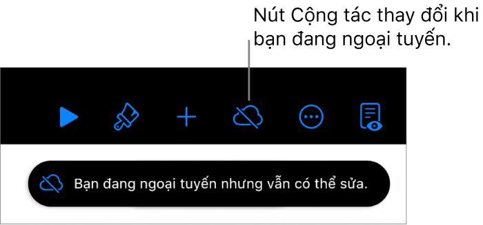 """Các nút ở đầu màn hình, với nút Cộng tác được thay đổi thành đám mây với đường chéo xuyên qua. Cảnh báo trên màn hình cho biết """"Bạn đang ngoại tuyến nhưng vẫn có thể sửa""""."""
