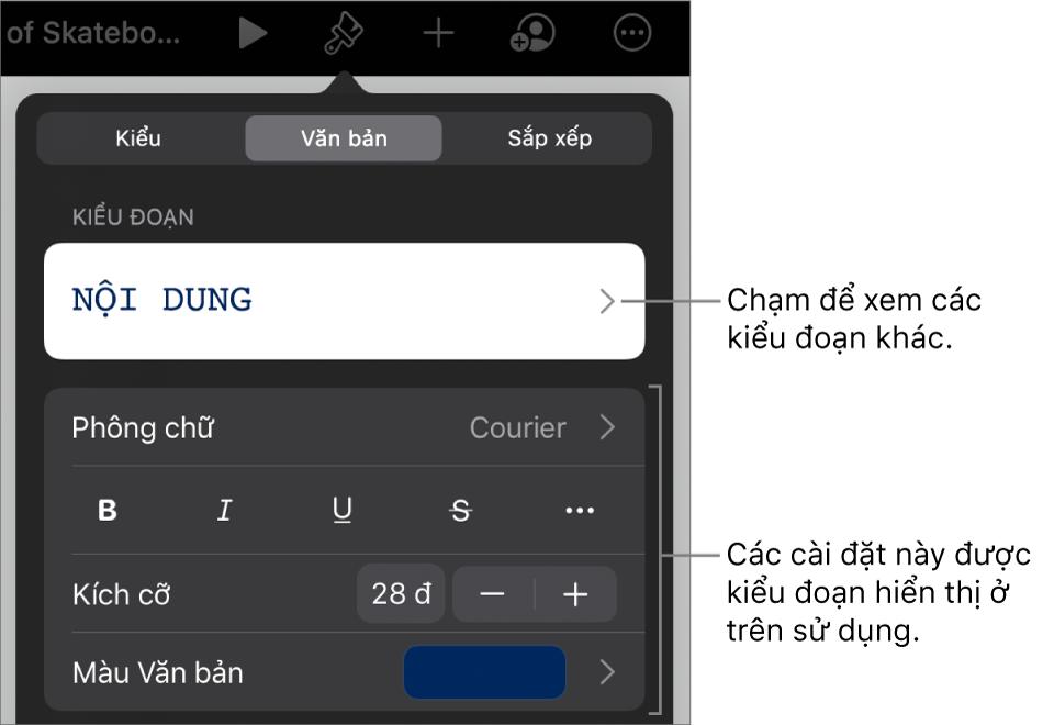 Menu Định dạng đang hiển thị các điều khiển văn bản để đặt kiểu, phông chữ, kích cỡ và màu của đoạn và ký tự.