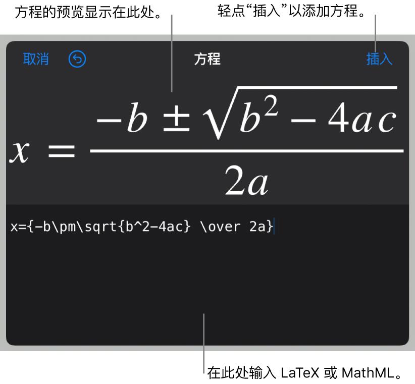 """""""方程""""对话框,显示使用 LaTeX 命令所写的二次公式,且上方显示公式的预览。"""