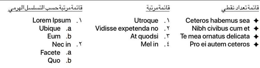 أمثلة لقوائم بتعداد نقطي، ومرتّبة، وهرمية.