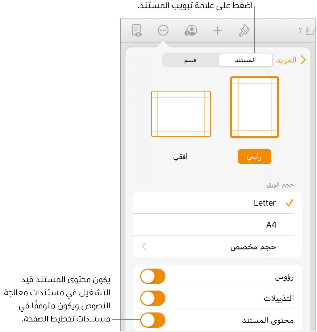 عناصر التحكم في تنسيق المستند ويظهر بها محتوى المستند قيد التشغيل بالقرب من الجزء السفلي من الشاشة.