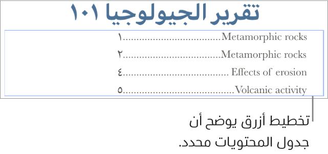جدول محتويات مُدرج في مستند. تعرض الإدخالات العناوين بجانب أرقام صفحاتها.