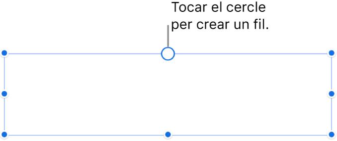 Quadre de text buit amb un cercle blanc a la part superior i marcadors per canviar‑ne la mida als angles, als laterals i a la part inferior.