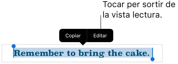 Se selecciona una frase i a sobre hi apareix un menú contextual amb els botons Copiar i Editar.