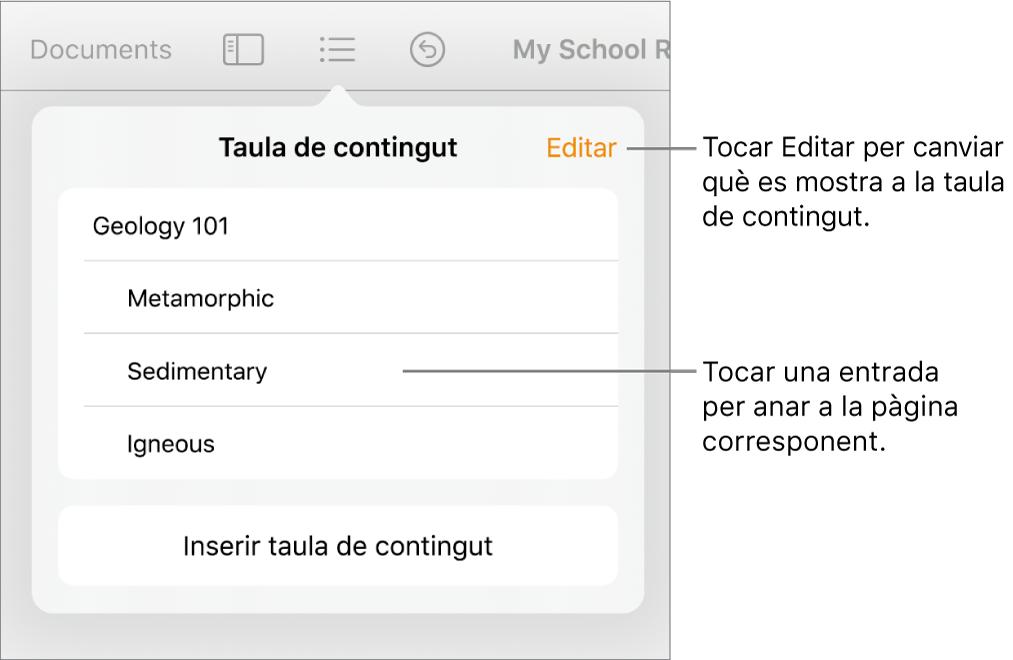 La vista de taula de contingut amb entrades en una llista. El botó Editar a l'angle superior dret de la visualització.