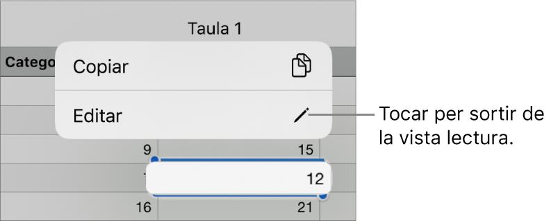 Se selecciona una cel·la de taula i a sobre s'hi pot veure un menú amb els botons Copiar i Editar.
