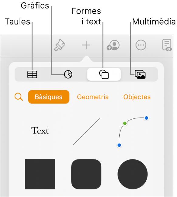 Els controls per afegir un objecte, amb botons a la part superior per seleccionar taules, gràfics, formes (línies i quadres de text) i contingut multimèdia.