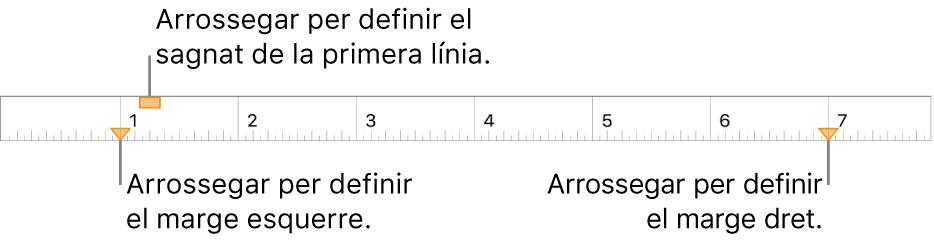 El regle, amb llegendes per als marcadors de marge esquerre, de sagnat de la primera línia i de marge dret.