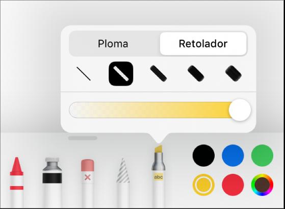 """El menú de les eines d'anotacions intel·ligents amb els botons Ploma i """"Retolador fluorescent"""", les opcions de gruix de línia i el regulador d'opacitat."""
