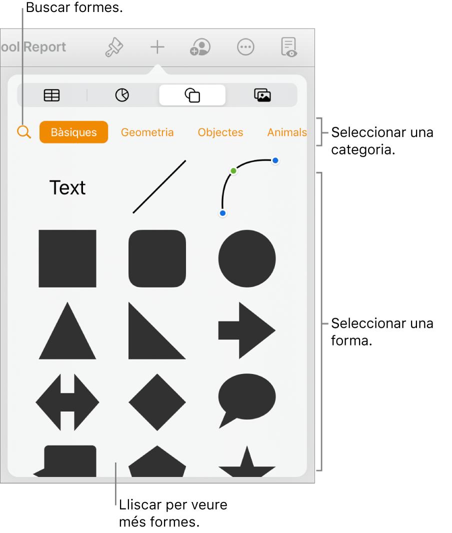 La biblioteca de formes, amb categories a la part superior i les formes a sota. Pots utilitzar el botó de cerca situat a la part superior per trobar formes i passar el dit per veure'n més.