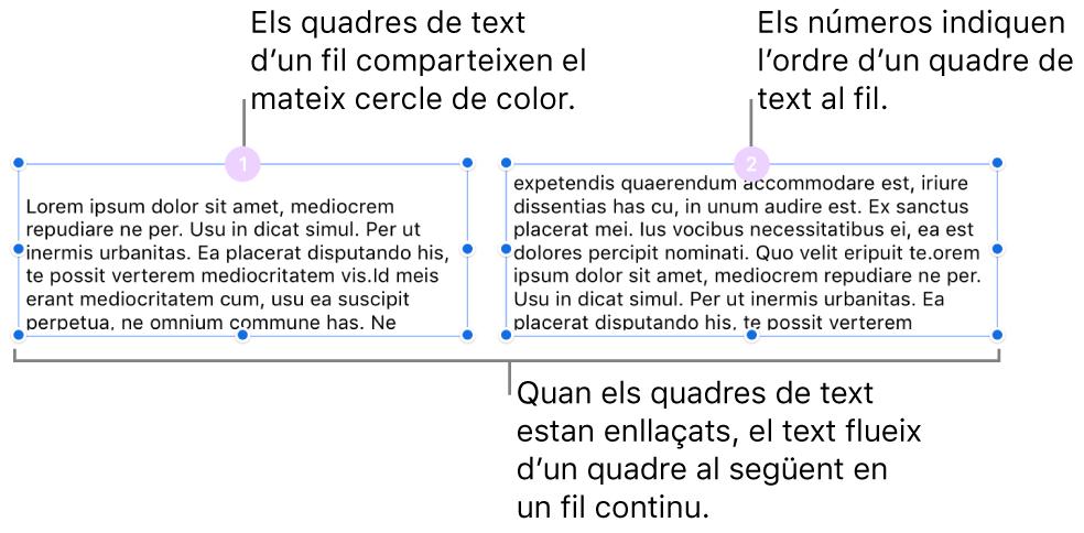 Dos quadres de text amb cercles de color morat a la part superior i els números 1 i 2 als cercles.