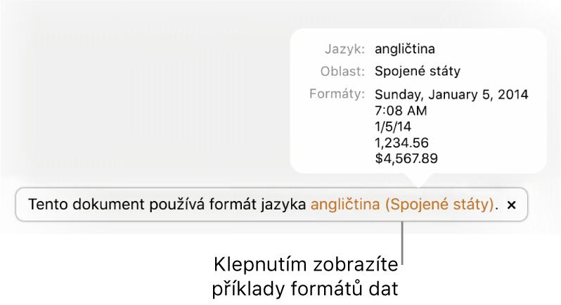 Upozornění na odlišné nastavení jazyka aoblasti sukázkami formátování pro daný jazyk aoblast