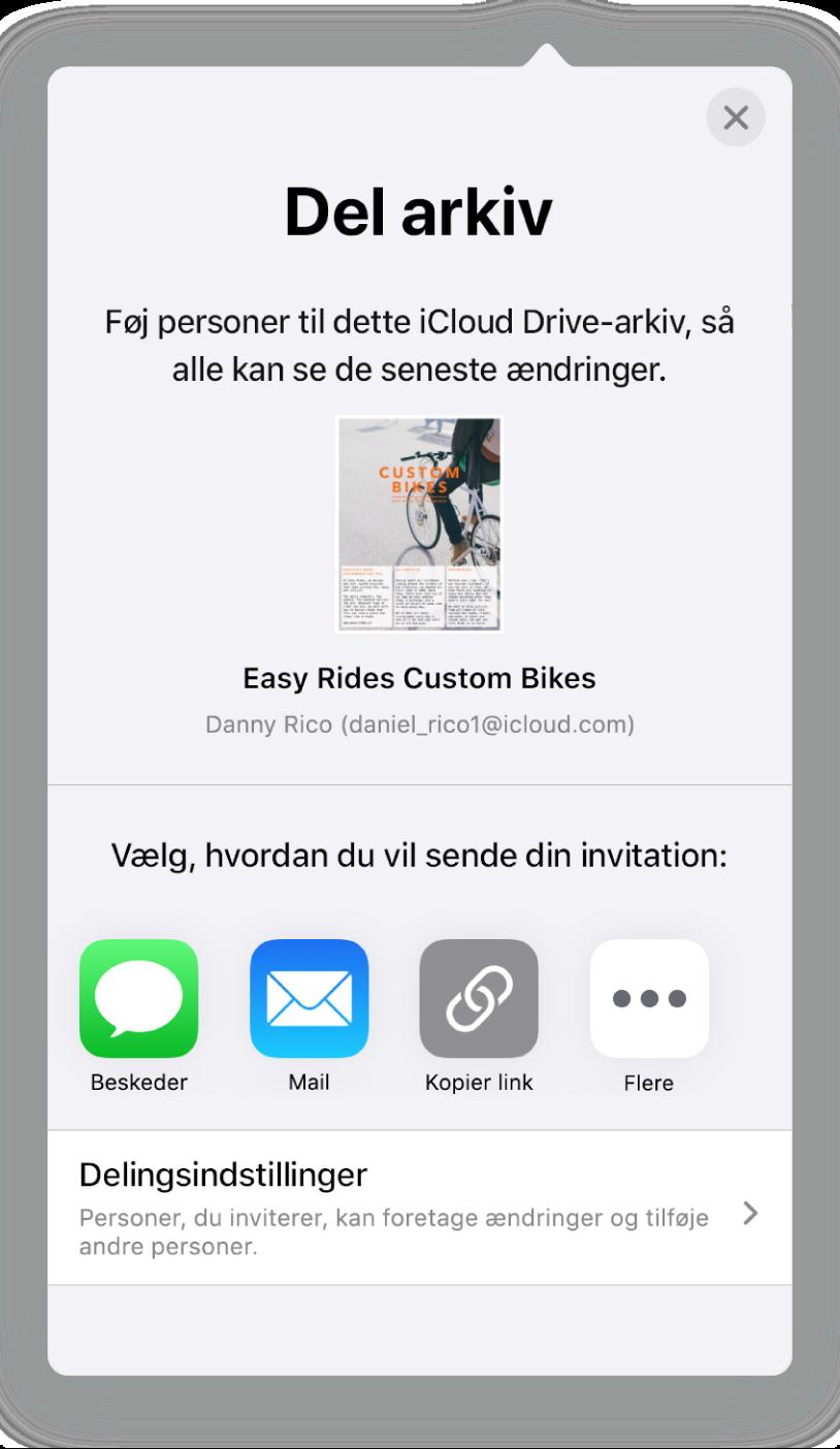 Skærmen Tilføj personer, der viser et billede af det dokument, der skal deles. Derunder er der knapper for forskellige måder at sende invitationen på, herunder Mail, og mulighederne Kopier link og Mere. Nederst findes knappen Delingsindstillinger.