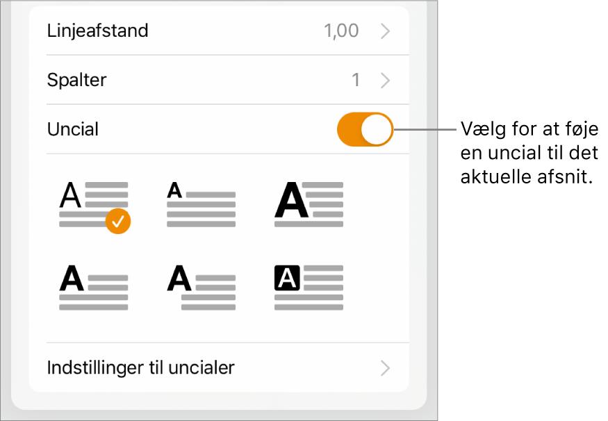 Betjeningsmulighederne til Uncial placeret nederst i menuen Tekst.