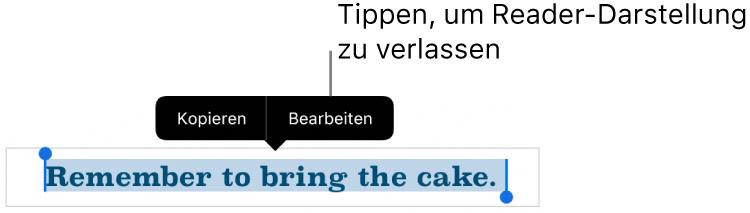 """Ein Satz ist ausgewählt und darüber befindet sich ein Kontextmenü mit den Optionen """"Kopieren"""" und """"Bearbeiten""""."""