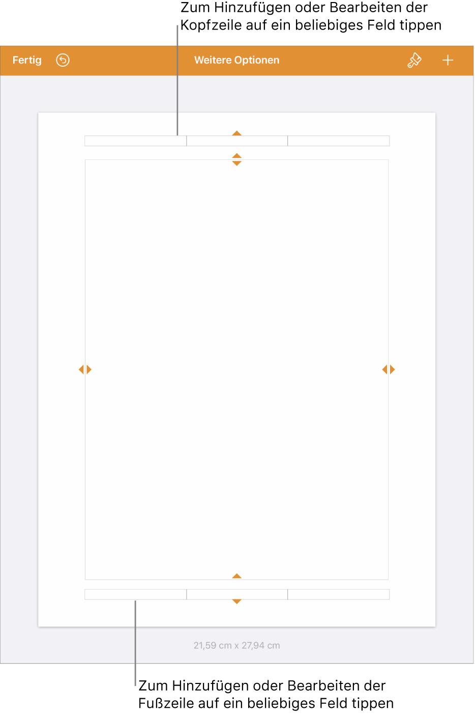 """Die Darstellung """"Weitere Optionen"""" mit drei Feldern für Kopfzeilen oben im Dokument und drei Feldern für Fußzeilen unten im Dokument."""