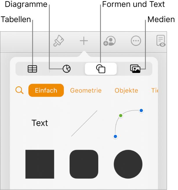 """Die Steuerelemente """"Einfügen"""" mit Tasten zum Hinzufügen von Tabellen, Diagrammen, Text, Formen und Medien oben"""