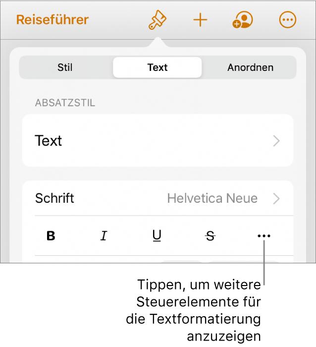 """Der Tab """"Text"""" der Formatsteuerungen mit einer Beschreibung für die Taste """"Weitere Textoptionen""""."""