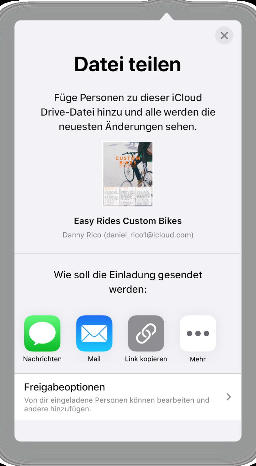 """Im Bildschirm """"Personen hinzufügen"""" wird ein Bild des Dokuments angezeigt, das geteilt werden soll. Darunter befinden sich Tasten für die Optionen zum Senden der Einladung, inkl. der App """"Mail"""" sowie """"Link kopieren"""" und mehr. Unten im Bildschirm ist die Taste """"Freigabeoptionen""""."""