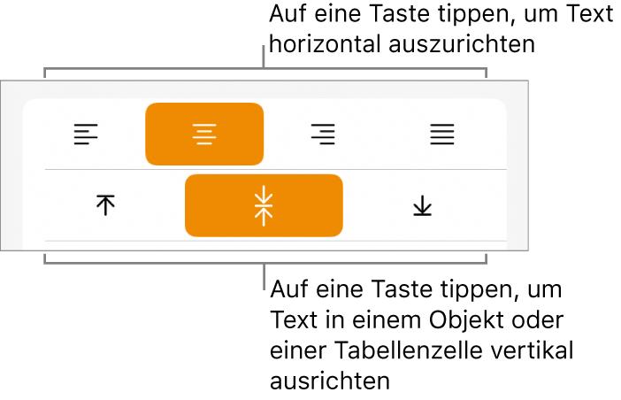 Horizontale und vertikale Ausrichtungstasten für Text