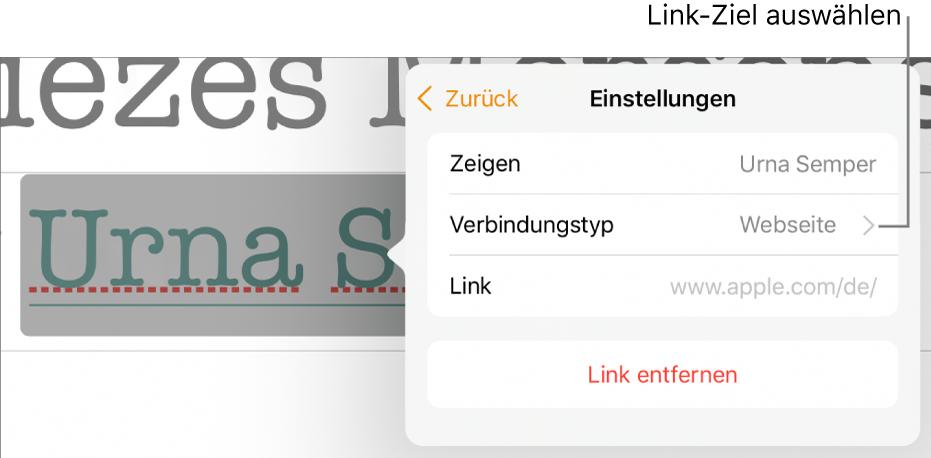 """Die Steuerelemente für Linkeinstellungen mit den Feldern """"Anzeigen"""", """"Verbindungstyp"""" (auf Webseite eingestellt"""") und """"Link"""". Unten in den Steuerelementen befindet sich die Taste """"Link entfernen""""."""