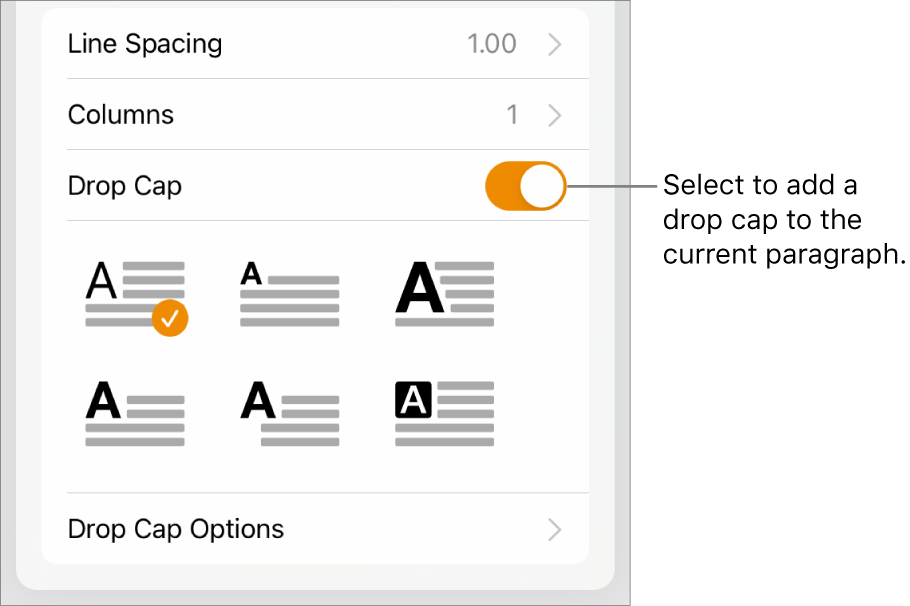The Drop Cap controls located at the bottom of the Text menu.