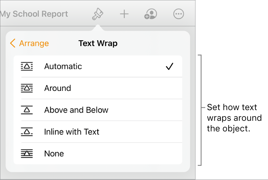 The Format controls with the Arrange tab selected. Below it are Text Wrap controls with Move to Back/Front, Move with Text, and Text Wrap.