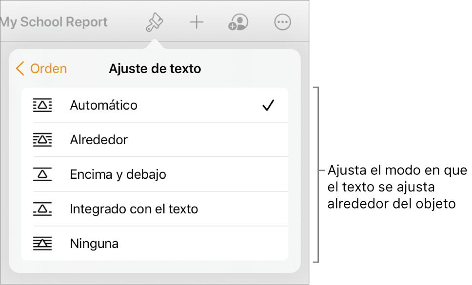"""Los controles de formato con la pestaña Orden seleccionada. Debajo están los controles """"Ajuste de texto"""" con las opciones """"Mover al fondo/al frente"""", """"Mover con texto"""" y """"Ajuste de texto""""."""