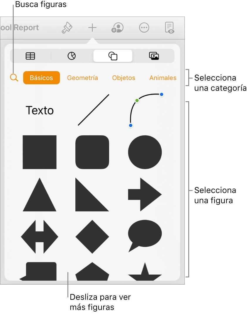 La biblioteca de figuras, con las categorías en la parte superior y las figuras mostradas abajo. Puede usar el botón de búsqueda de la parte superior para buscar figuras o deslizar para ver más.