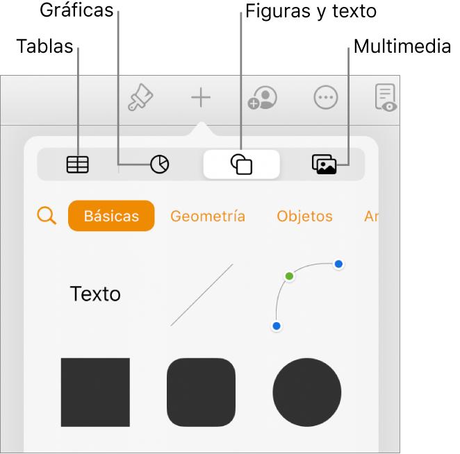 Los controles Insertar abiertos con botones para añadir tablas, gráficas, texto, figuras y contenidos en la parte superior.